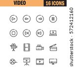 video flat icon set. collection ... | Shutterstock .eps vector #572412160