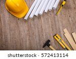 tape measure  hammer and... | Shutterstock . vector #572413114