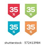 35  on colorful red green blue... | Shutterstock .eps vector #572413984