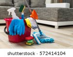 cleaning service. bucket with... | Shutterstock . vector #572414104