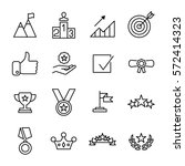 set of success icons in modern... | Shutterstock .eps vector #572414323