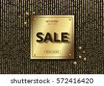 golden plate on glitter gold... | Shutterstock .eps vector #572416420