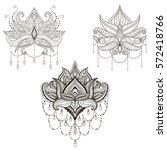 hand drawn vector lotus flower... | Shutterstock .eps vector #572418766