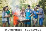 happy people having camping and ... | Shutterstock . vector #572419573