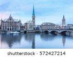 winter landscape of zurich with ... | Shutterstock . vector #572427214
