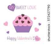 postcard happy valentine's day. ...   Shutterstock .eps vector #572427790