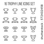 set of trophy icons in modern...