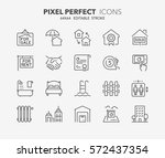 set of real estate and homes... | Shutterstock .eps vector #572437354