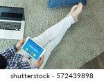 credit score concept on tablet... | Shutterstock . vector #572439898