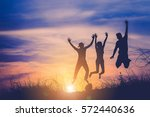 the silhouette of three people... | Shutterstock . vector #572440636