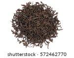 black dry tea leaves isolated... | Shutterstock . vector #572462770