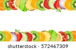 fruits and vegetables. mixed... | Shutterstock . vector #572467309