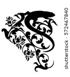 lizard and  rose flowers black... | Shutterstock .eps vector #572467840