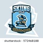 logo on skiing. emblem of skier ... | Shutterstock .eps vector #572468188