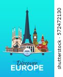 travel poster. discover europe. ... | Shutterstock .eps vector #572472130