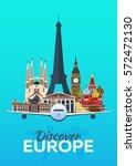 travel poster. discover europe. ... | Shutterstock .eps vector #572472130