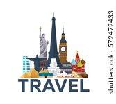 travel poster. around the world.... | Shutterstock .eps vector #572472433