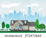 private suburban house with... | Shutterstock .eps vector #572472664