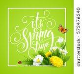 spring hand lettering on... | Shutterstock .eps vector #572476240