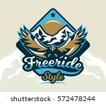 logo  emblem of an eagle flying.... | Shutterstock .eps vector #572478244