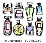 set of color perfume bottles.... | Shutterstock .eps vector #572481160