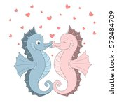 vector two seahorses with red... | Shutterstock .eps vector #572484709