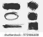 set of black paint  ink brush... | Shutterstock .eps vector #572486608