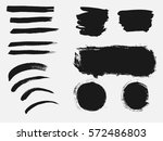 set of black paint  ink brush... | Shutterstock .eps vector #572486803