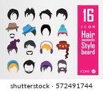 hair  beard  hat icons | Shutterstock .eps vector #572491744