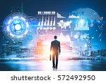 back view of businessman...   Shutterstock . vector #572492950