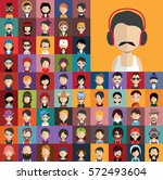 set of people icons in flat... | Shutterstock .eps vector #572493604