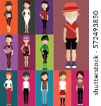 set of people with full body  | Shutterstock .eps vector #572493850
