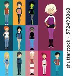 set of people with full body  | Shutterstock .eps vector #572493868