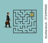 businessman in labyrinth search ... | Shutterstock .eps vector #572494060