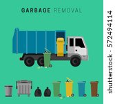 banner with garbage truck and... | Shutterstock .eps vector #572494114