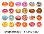 sweet donut set. the... | Shutterstock .eps vector #572494564
