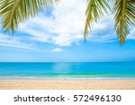 summer beach with palm trees | Shutterstock . vector #572496130