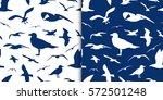 seagull silhouette seamless... | Shutterstock .eps vector #572501248