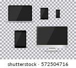 set of realistic tv  lcd  led ... | Shutterstock .eps vector #572504716