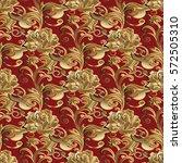 gold roses seamless pattern.... | Shutterstock .eps vector #572505310