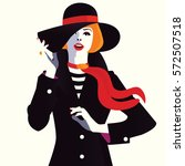 the fashionable girl in a hat.... | Shutterstock .eps vector #572507518