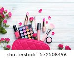 different makeup cosmetics on... | Shutterstock . vector #572508496
