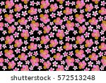 exotic flowers in allover... | Shutterstock . vector #572513248