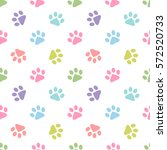 Stock vector pattern with colorful animal footprints 572520733