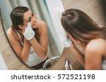 beautiful smiling young woman... | Shutterstock . vector #572521198