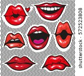 fashion patch badges with lips...   Shutterstock .eps vector #572523808