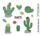 Set Of Cute Cartoon Cactus And...