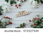 pink roses and white roses and...   Shutterstock . vector #572527534