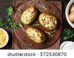 stuffed potatoes with bacon ... | Shutterstock . vector #572530870