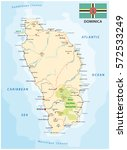 dominica road vector map with... | Shutterstock .eps vector #572533249